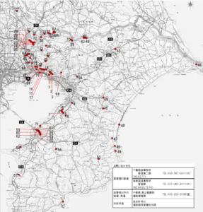 千葉県(千葉市を除く)における地下道(アンダーパス)の道路冠水注意箇所マップ