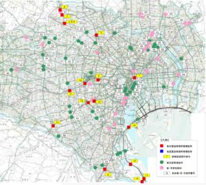 東京都の道路・地下道(アンダーパス)冠水注意箇所マップ1