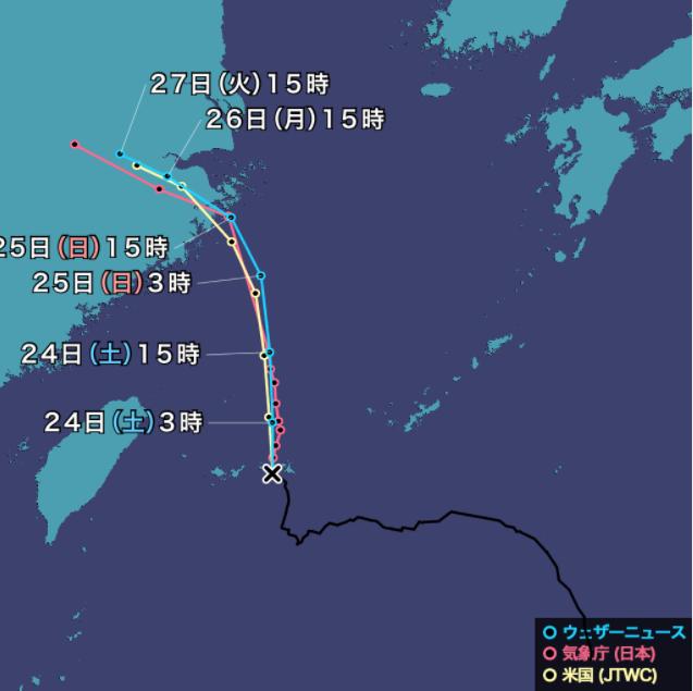台風6号(インファ)2021年のニュース・米国JTWC米国海・空合同台風警報センター