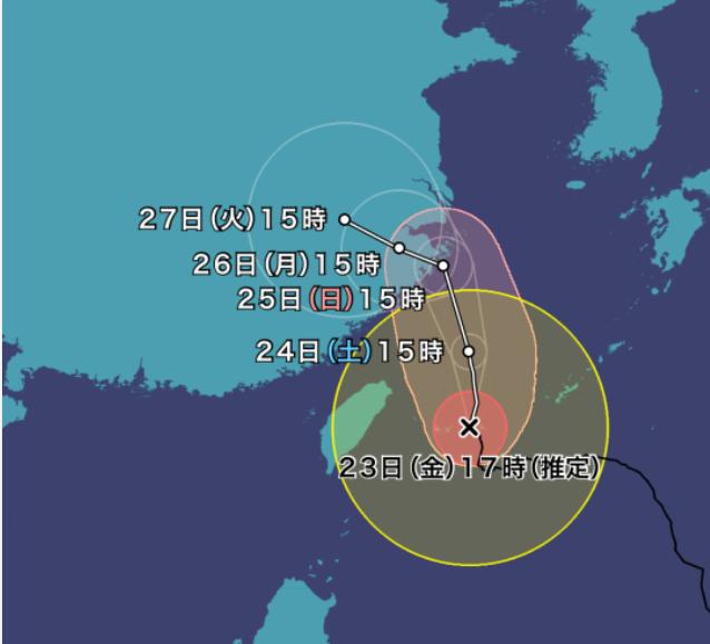 台風6号インファ2021年の進路予想図