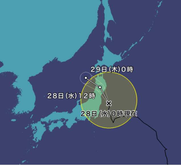 台風8号(ニパルタック)2021年の進路予想図