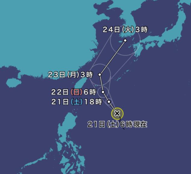 台風12号(オーマイス)2021年の進路予想図