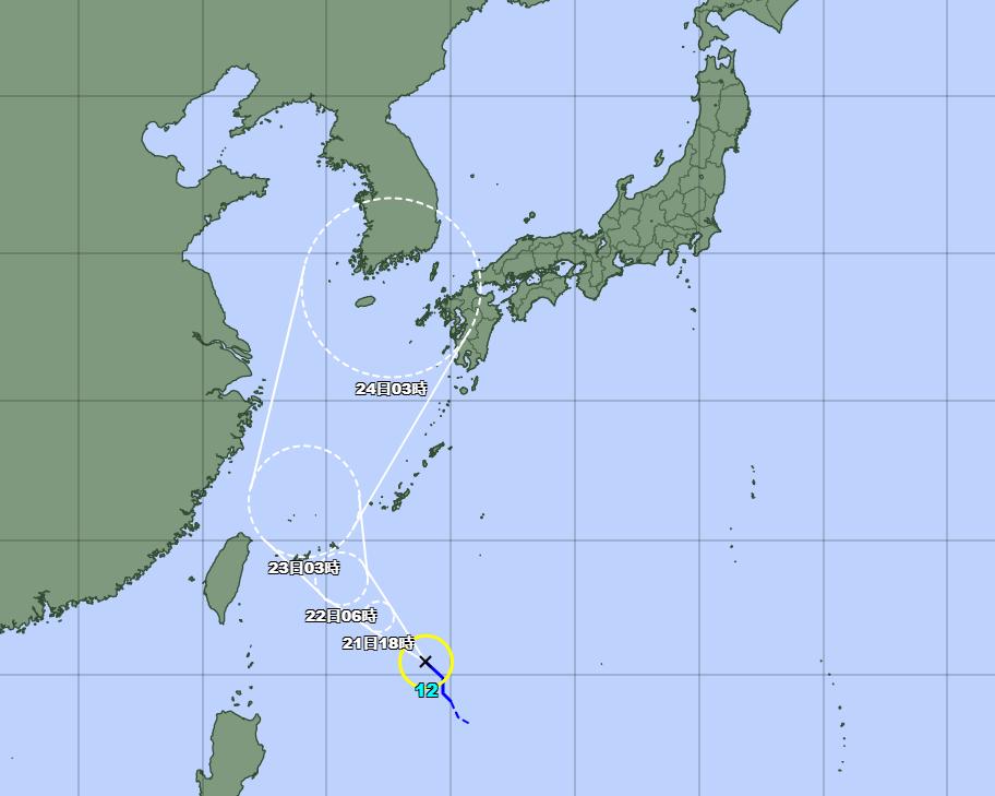 台風12号(オーマイス)2021年の進路予想図1