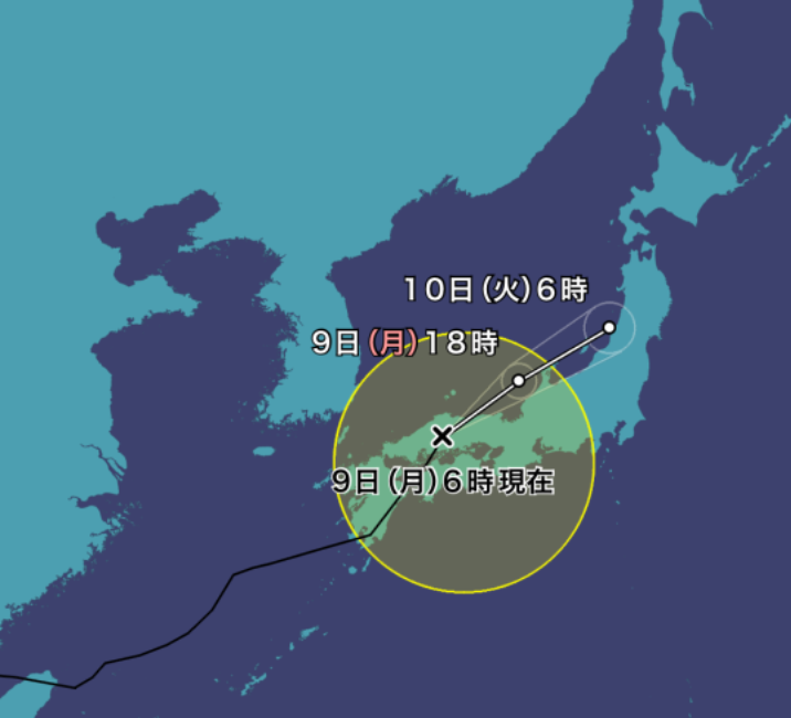 台風9号(ルピート)2021年の進路予想図